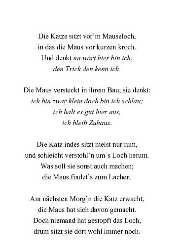 Gedichte Die Katze Vor Dem Mauseloch Von Apollinaris