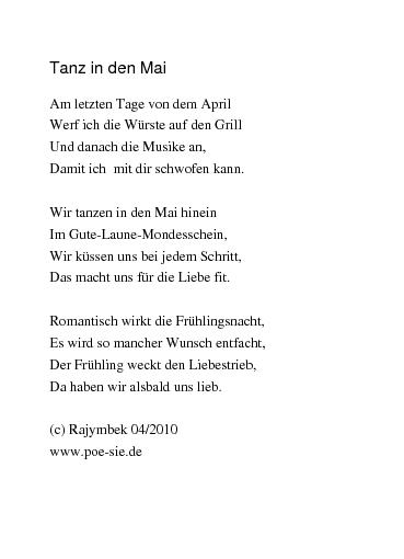 Gedichte Tanz In Den Mai Von Rajymbek
