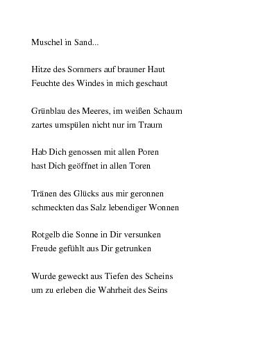 Gedichte Muschel In Sand Eine Urlaubserinnerung Von
