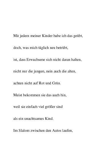 Gedichte Vorbildfunktion Im Straßenverkehr Von Chrissy55