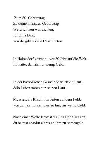 Gedichte Zum 80 Geburtstag Oma