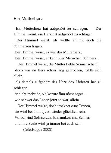 Gedichte Ein Mutterherz Hat Aufgehört Zu Schlagen Von Ditte34