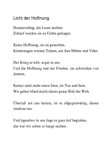 Gedichte Licht Der Hoffnung Ein Gedicht Von Nera200