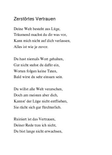 Gedichte Zerstörtes Vertrauen Von Rajymbek