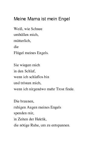 Gedicht mutter engel